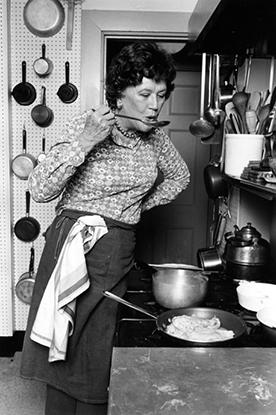 1978 publicity portrait of Julia Child in her kitchen
